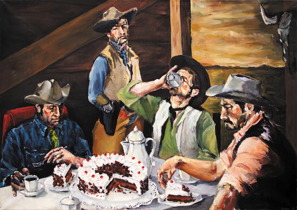 Cowboys | Kaffeekränzchen  (Cowboys | Coffee Party) Acryl und Öl auf Leinwand    Acrylic and Oil on Canvas