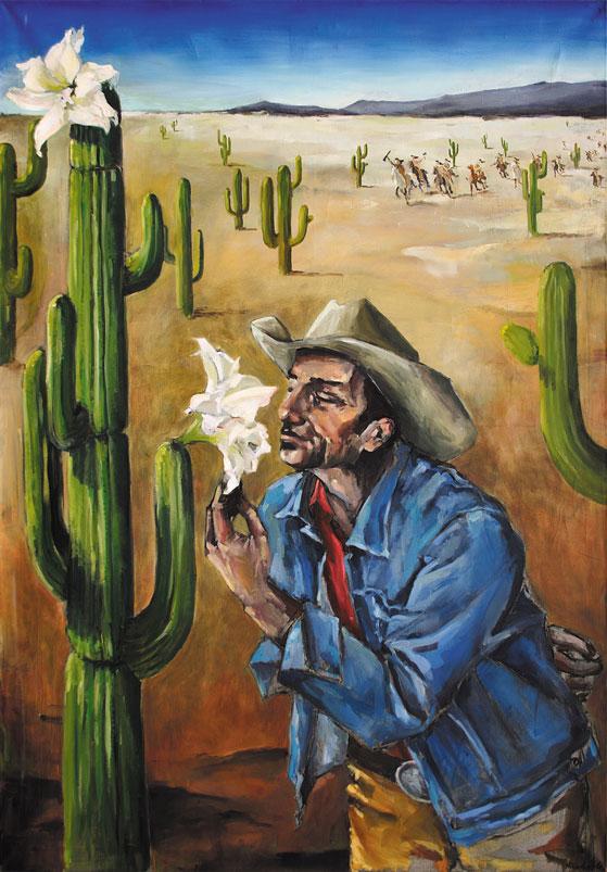 Cowboys | Kaktusblüte (Cowboys / Cactus Flower)  Acryl und Öl auf Leinwand | Acrylic and Oil on Canvas